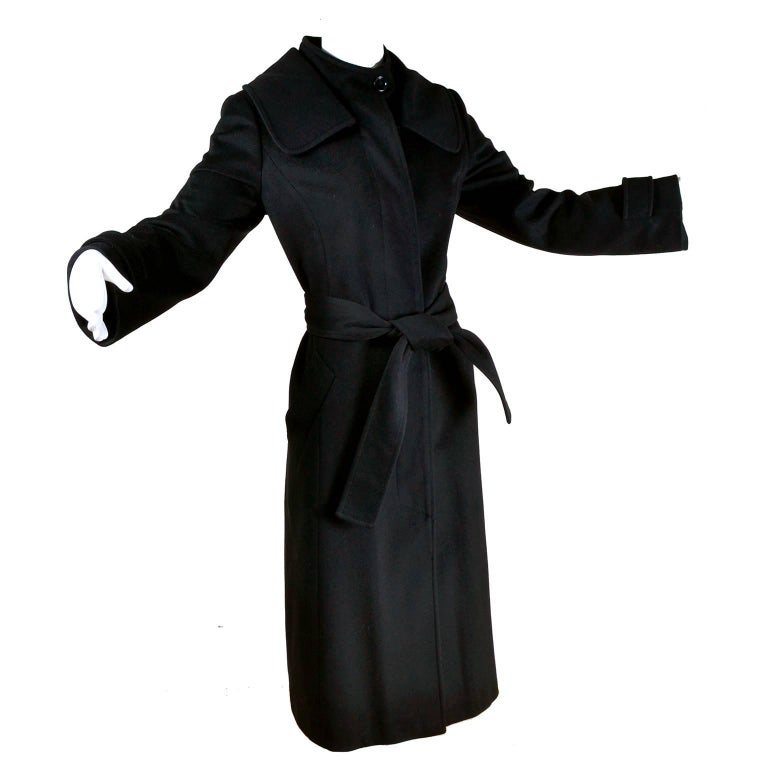 Dolce & Gabbana Vintage Black Cashmere & Wool Coat With Belt 8/10 1
