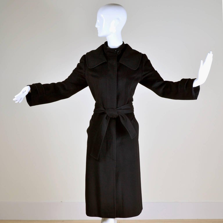 Dolce & Gabbana Vintage Black Cashmere & Wool Coat With Belt 8/10 2