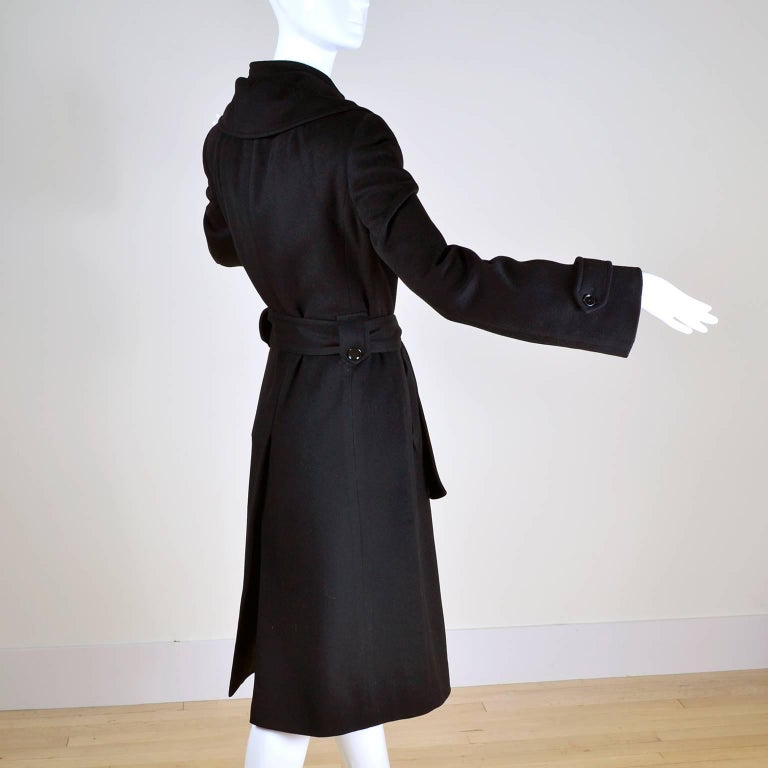 Dolce & Gabbana Vintage Black Cashmere & Wool Coat With Belt 8/10 4