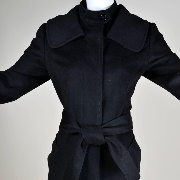 Dolce & Gabbana Vintage Black Cashmere & Wool Coat With Belt 8/10 5