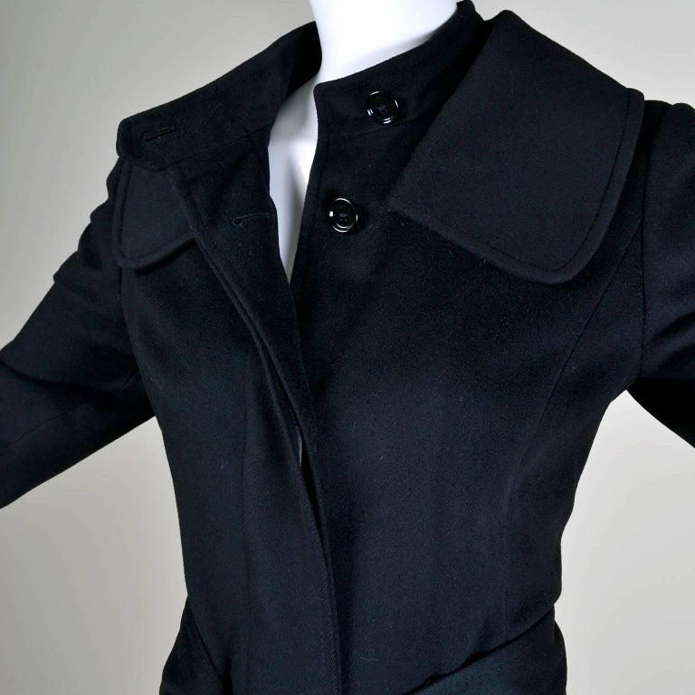 Dolce & Gabbana Vintage Black Cashmere & Wool Coat With Belt 8/10 6