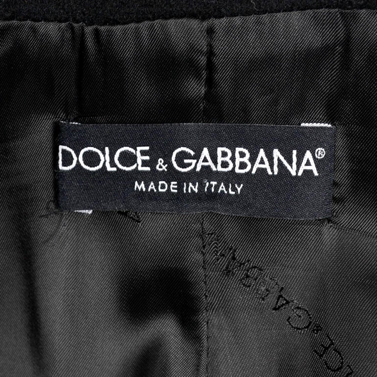 Dolce & Gabbana Vintage Black Cashmere & Wool Coat With Belt 8/10 7