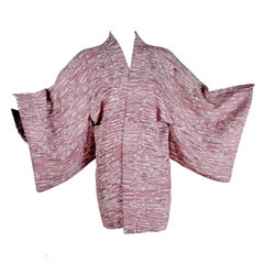 Vintage Japanese Cherry Blossom Haori Kimono Jacket in Hand Dyed Silk