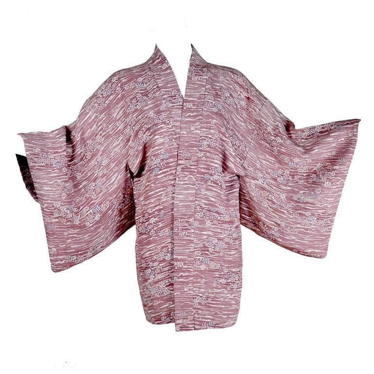 1930s Vintage Kimono Japanese Cherry Blossom Haori Jacket in Hand Dyed Silk