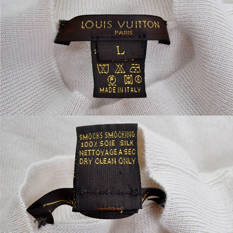 Louis Vuitton Sand Silk Cashmere Sweater with Smocking and Bishop Sleeves  2