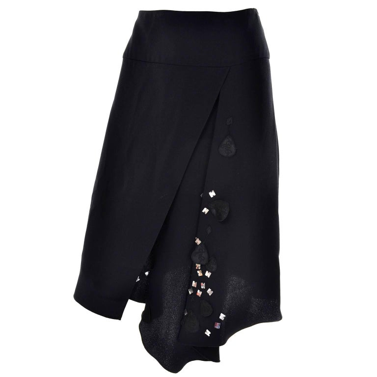 Christian Lacroix Vintage Black Silk & Rayon Skirt W/ Sequins & Appliques 10/12 For Sale 2