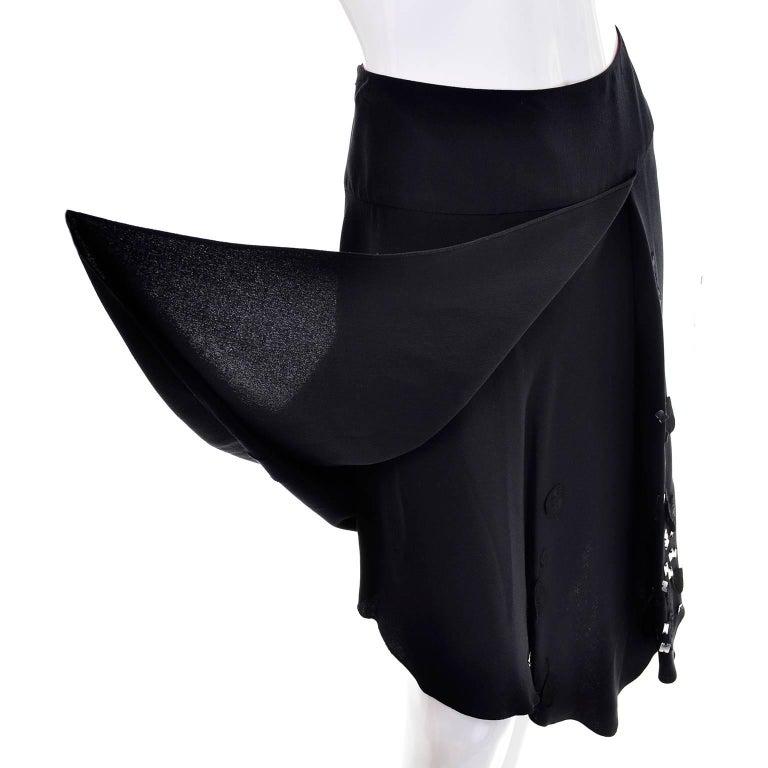 Christian Lacroix Vintage Black Silk & Rayon Skirt W/ Sequins & Appliques 10/12 For Sale 1