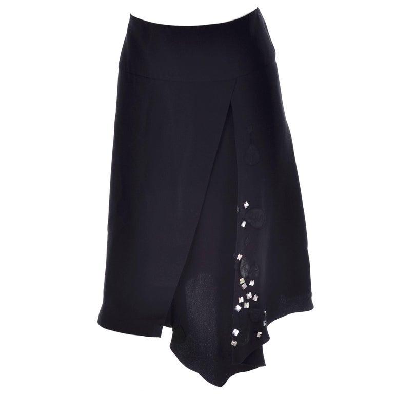 Christian Lacroix Vintage Black Silk & Rayon Skirt W/ Sequins & Appliques 10/12 For Sale