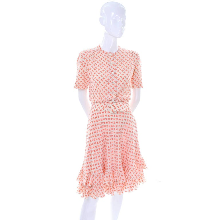 Women's Vintage Couture Dress with Orange & White Silk Bow Print and Ruffled Hem Size 2 For Sale