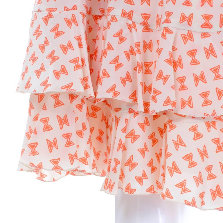 Pink Vintage Couture Dress with Orange & White Silk Bow Print and Ruffled Hem Size 2 For Sale