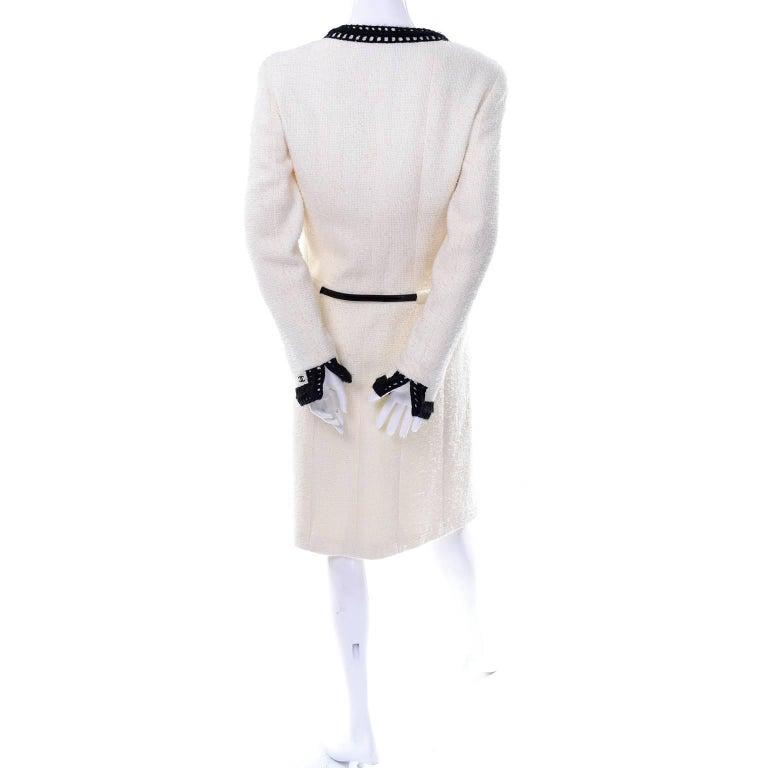 Chanel 2000 Documented White Tweed Coat Black Trim Kyoto Costume Institute 8/10 7