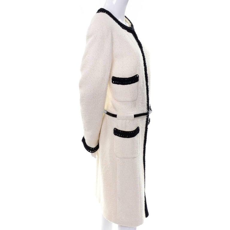 Chanel 2000 Documented White Tweed Coat Black Trim Kyoto Costume Institute 8/10 8