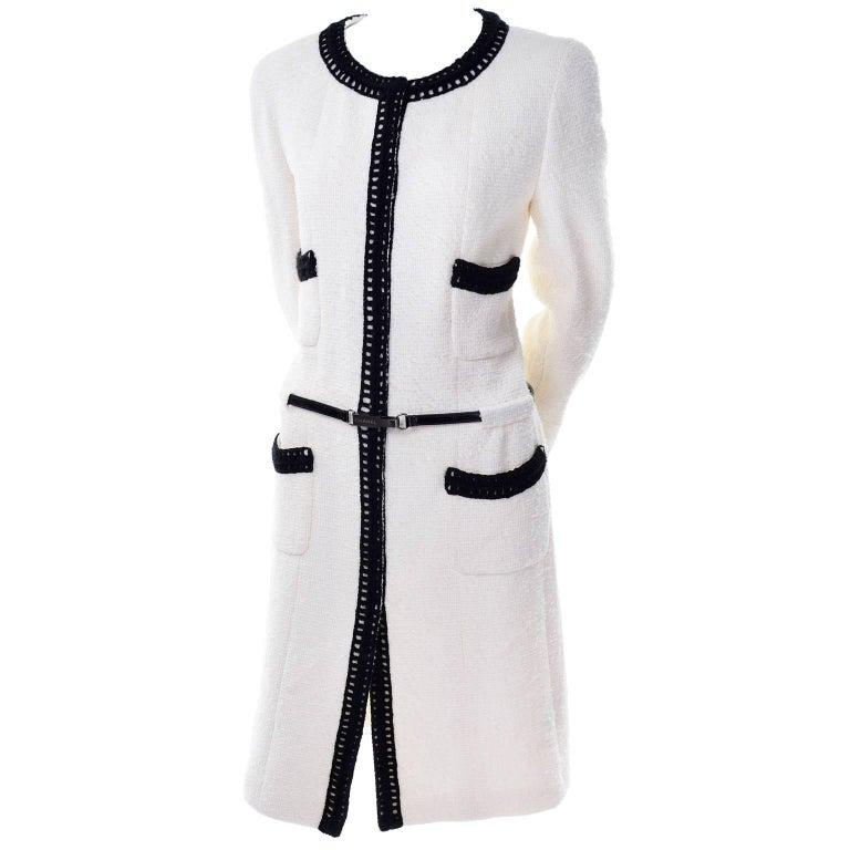 Chanel 2000 Documented White Tweed Coat Black Trim Kyoto Costume Institute 8/10 1