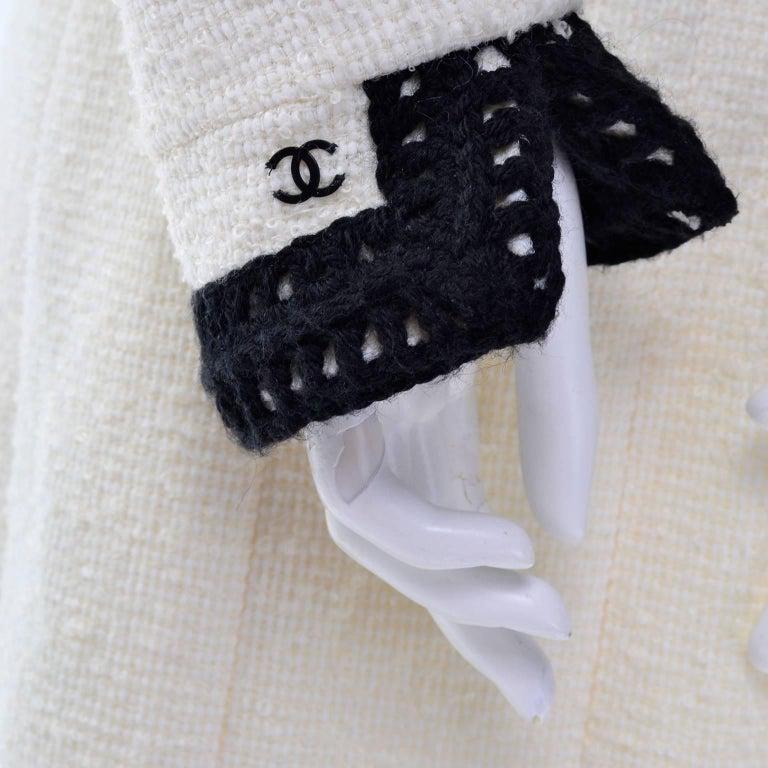 Chanel 2000 Documented White Tweed Coat Black Trim Kyoto Costume Institute 8/10 5
