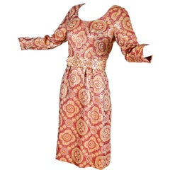 1960s Copper Gold Metallic Vintage Adele Simpson Dress W/ Rhinestone Belt