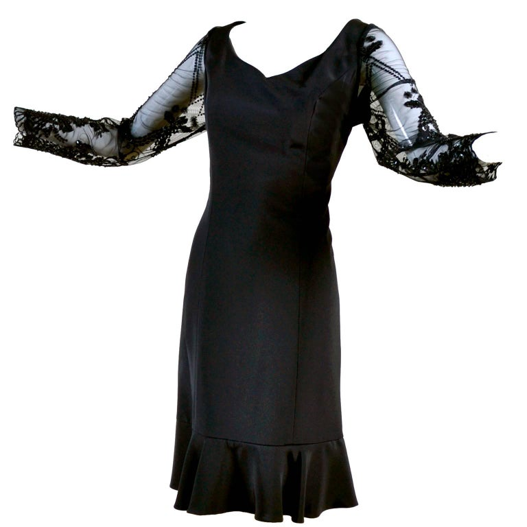 Margaretha Ley Escada Vintage Silk Little Black Dress with Beads and Sequins For Sale