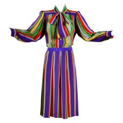 1982 Yves Saint Laurent YSL Documented Vintage Multi Colored Striped Silk Dress