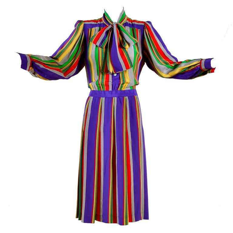 1982 Yves Saint Laurent YSL Documented Vintage Multi Colored Striped Silk Dress 1
