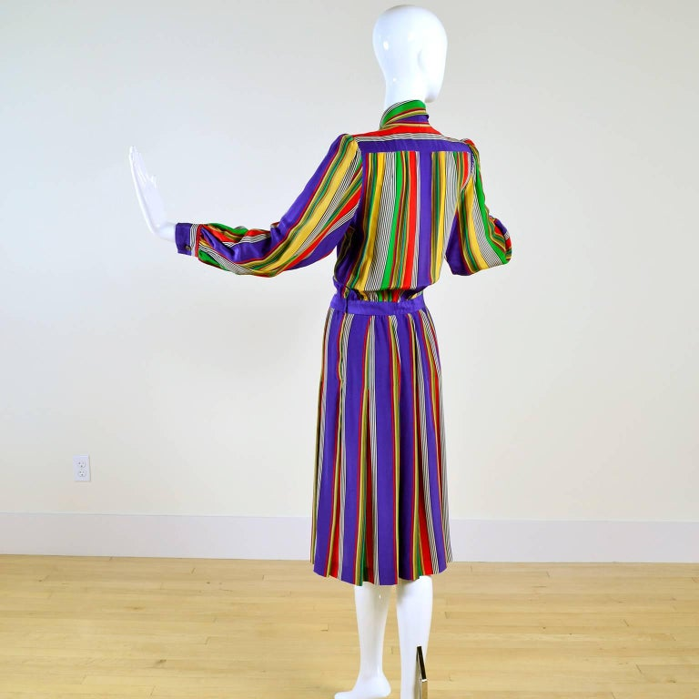1982 Yves Saint Laurent YSL Documented Vintage Multi Colored Striped Silk Dress 3