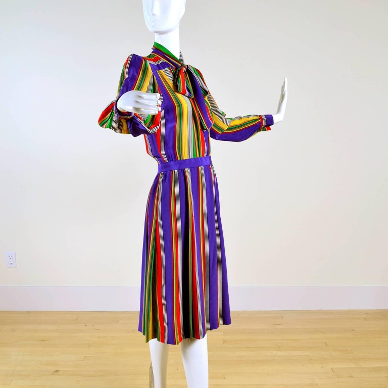 1982 Yves Saint Laurent YSL Documented Vintage Multi Colored Striped Silk Dress 4
