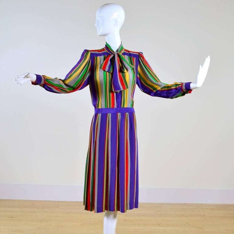 1982 Yves Saint Laurent YSL Documented Vintage Multi Colored Striped Silk Dress 5