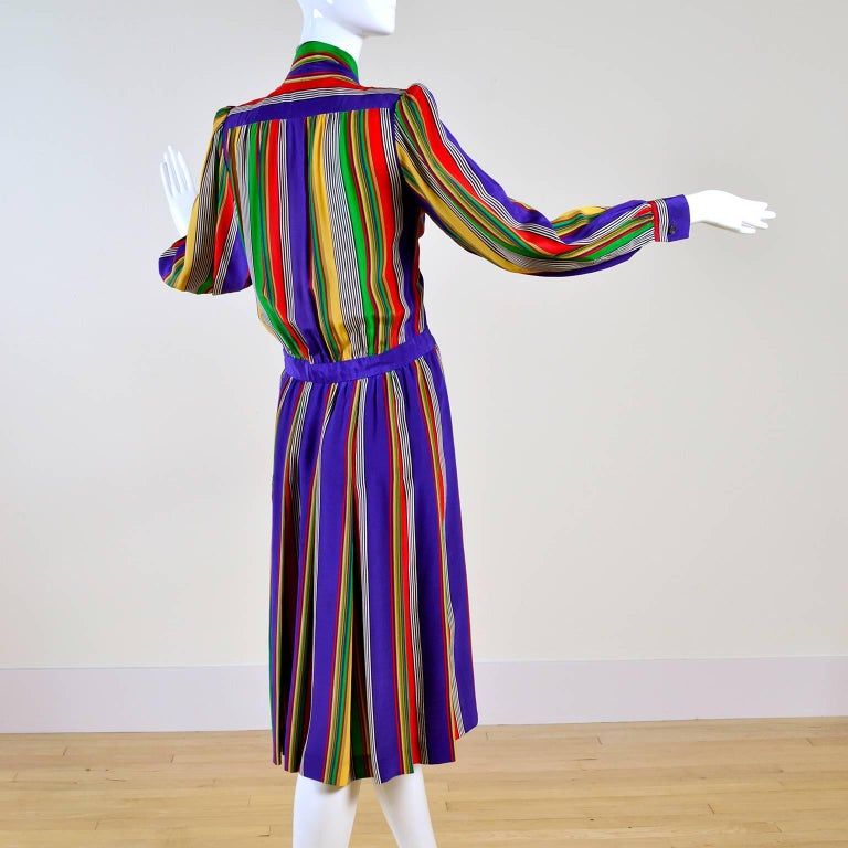 1982 Yves Saint Laurent YSL Documented Vintage Multi Colored Striped Silk Dress 6