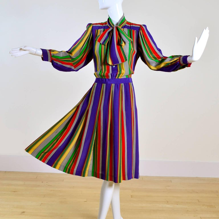 1982 Yves Saint Laurent YSL Documented Vintage Multi Colored Striped Silk Dress 7