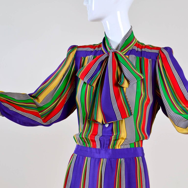 1982 Yves Saint Laurent YSL Documented Vintage Multi Colored Striped Silk Dress 8
