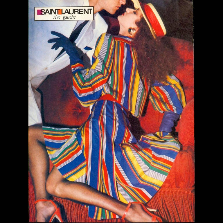 1982 Yves Saint Laurent YSL Documented Vintage Multi Colored Striped Silk Dress 2