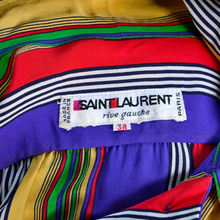 1982 Yves Saint Laurent YSL Documented Vintage Multi Colored Striped Silk Dress 10