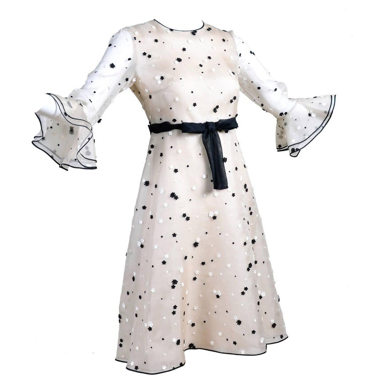 Documented 2011 Valentino Dress in Cream Organza w Black & White Flowers