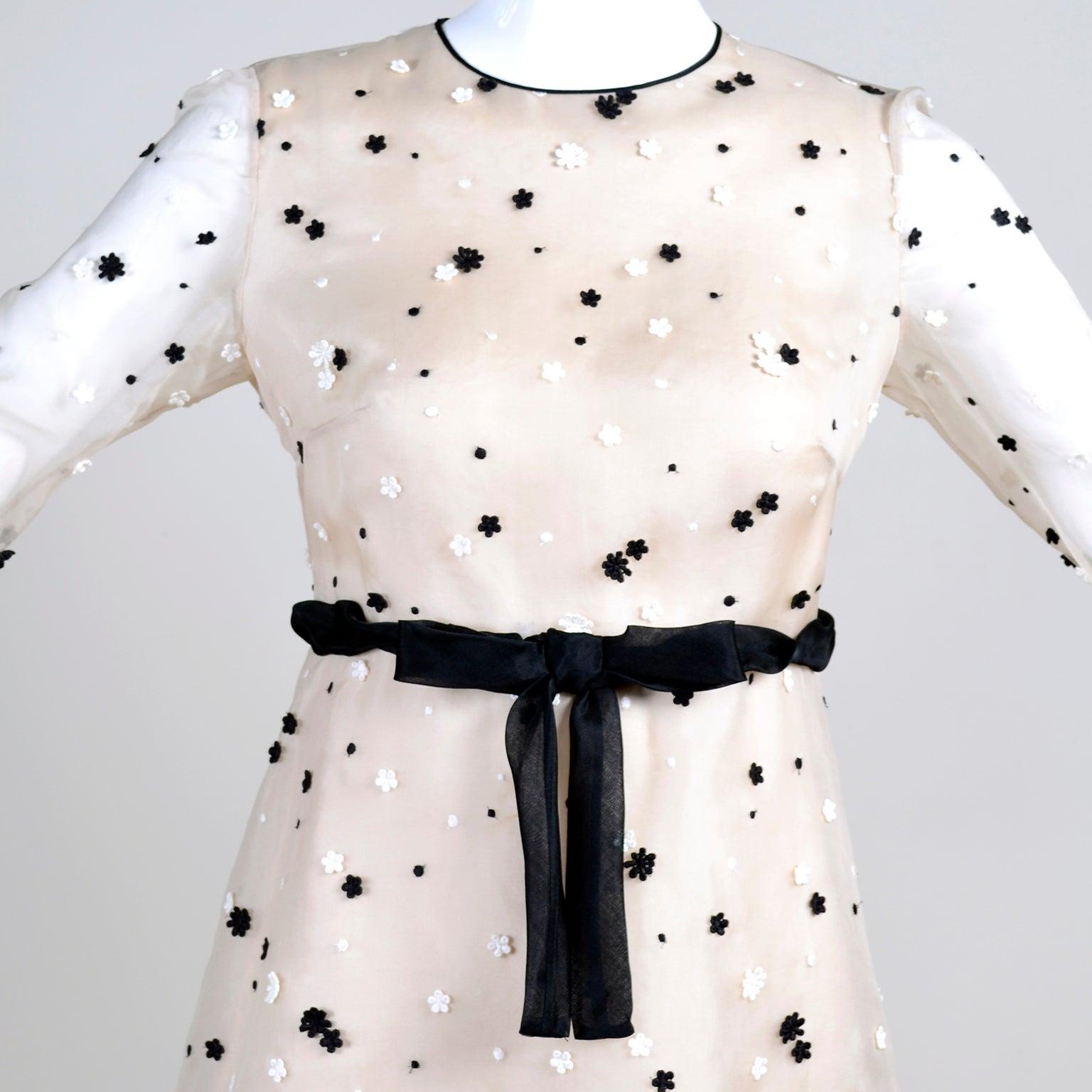 Documented 2011 Valentino Dress In Cream Organza W Black And White