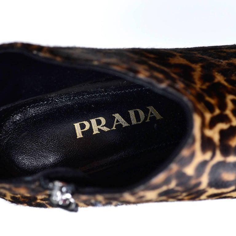 88d925cc614 Pointed Toe Prada Leopard Print Fur Boots or Booties in Size 38 W  Kitten  Heels