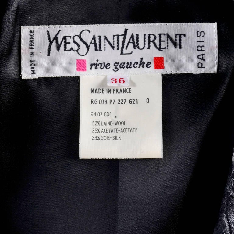 YSL Yves Saint Laurent Quilted Vintage Dark Silver Jacket Wool Silk Blend Sz 36 For Sale 2
