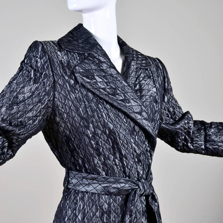 Women's YSL Yves Saint Laurent Quilted Vintage Dark Silver Jacket Wool Silk Blend Sz 36 For Sale