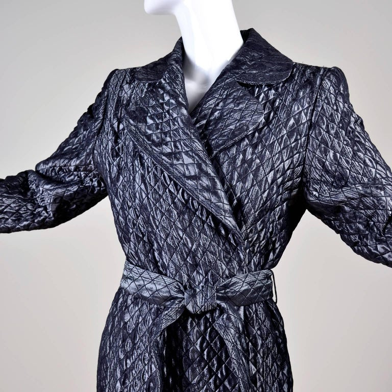 YSL Yves Saint Laurent Quilted Vintage Dark Silver Jacket Wool Silk Blend Sz 36 For Sale 1