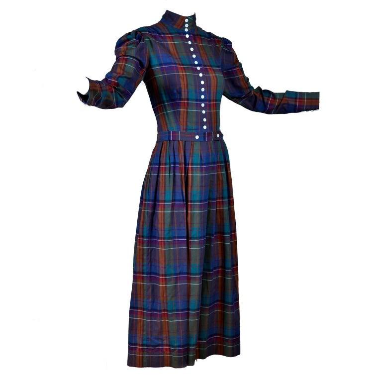 Rare Vintage Ralph Lauren 1980s High Neck Plaid Prairie Style Dress Size 8