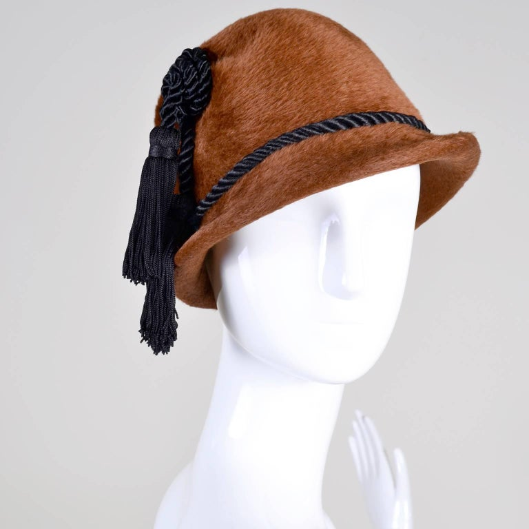Brown Yves Saint Laurent YSL Vintage Faux Fur Cloche Hat with Tassels, 1970s  For Sale