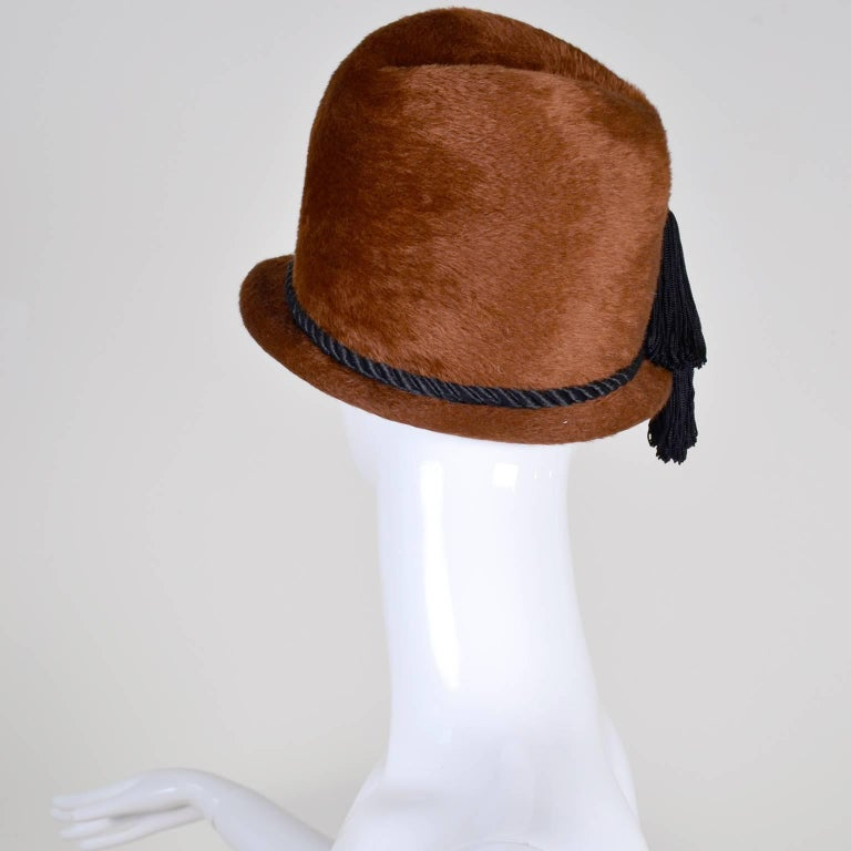 Yves Saint Laurent YSL Vintage Faux Fur Cloche Hat with Tassels, 1970s  For Sale 1