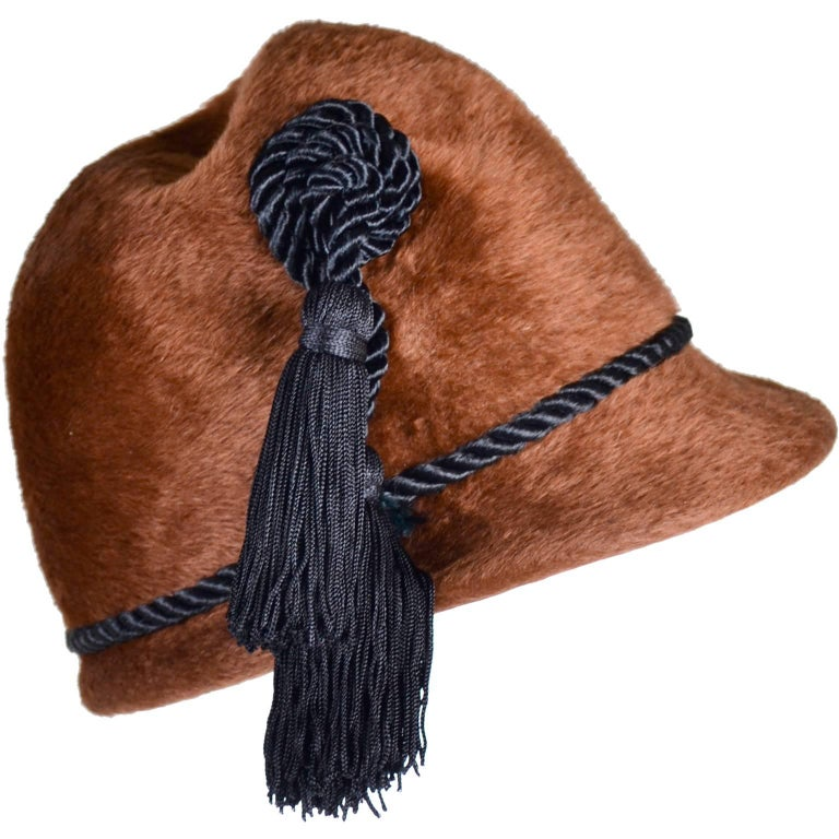 Yves Saint Laurent YSL Vintage Faux Fur Cloche Hat with Tassels, 1970s  For Sale 2