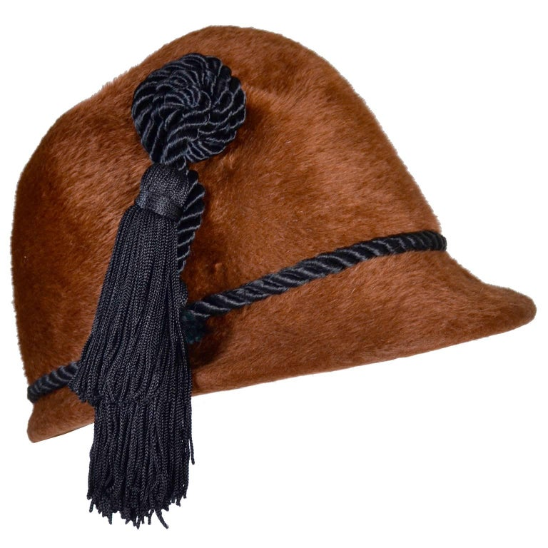 Yves Saint Laurent YSL Vintage Faux Fur Cloche Hat with Tassels, 1970s  For Sale