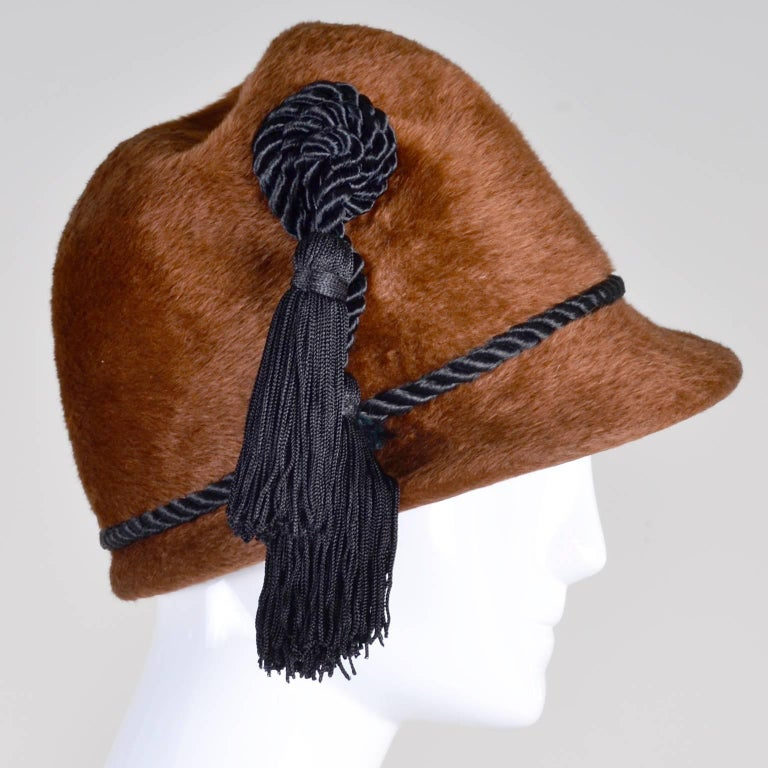 Yves Saint Laurent YSL Vintage Faux Fur Cloche Hat with Tassels, 1970s  In Excellent Condition For Sale In Portland, OR