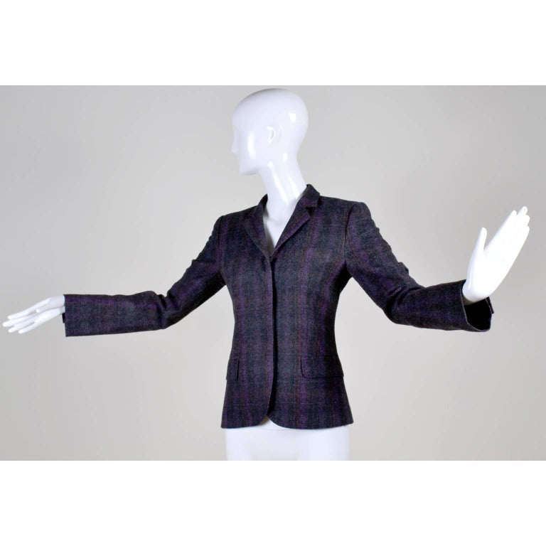 Black Alexander McQueen McQ SINV Purple Charcoal Gray Plaid Wool Blazer Jacket For Sale