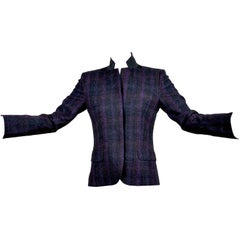 Alexander McQueen McQ SINV Purple Charcoal Gray Plaid Wool Blazer Jacket