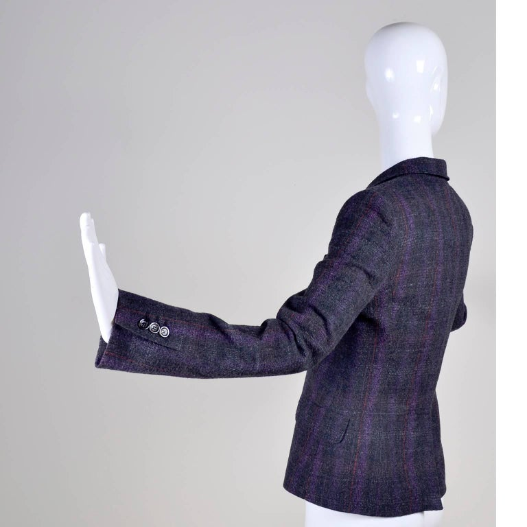 Women's Alexander McQueen McQ SINV Purple Charcoal Gray Plaid Wool Blazer Jacket For Sale
