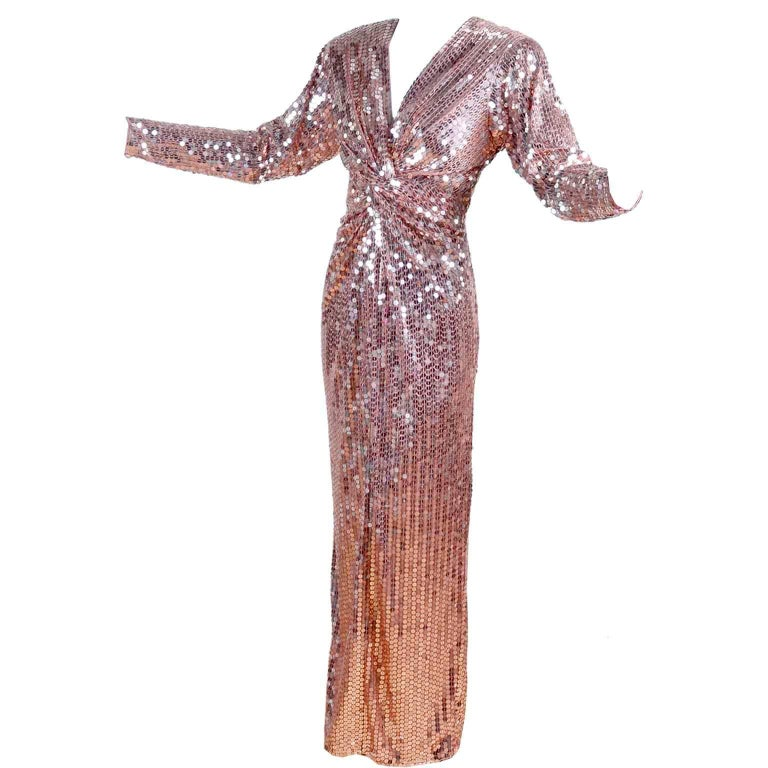 Oleg Cassini Vintage Rose Gold Sequin Evening Gown Dress at 1stdibs