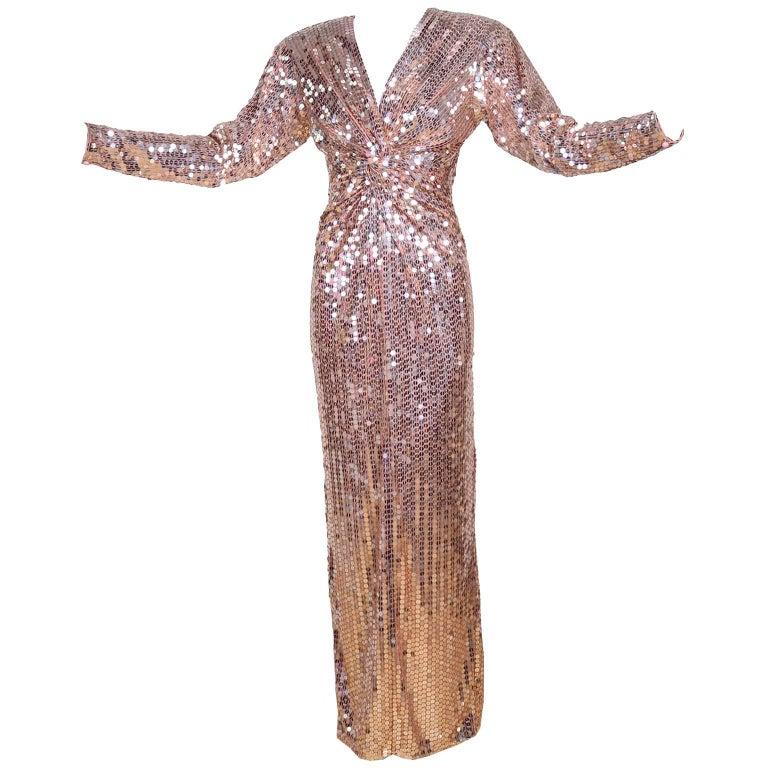 Oleg Cassini Vintage Rose Gold Sequin Evening Gown Dress at 1stdibs