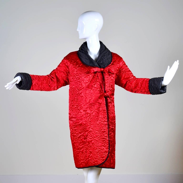 1990s Sonia Rykiel Jacket Reversible Quilted Red & Black Coat With Hood For Sale 2