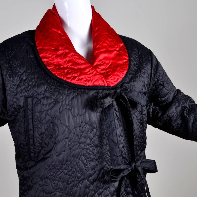 1990s Sonia Rykiel Jacket Reversible Quilted Red & Black Coat With Hood For Sale 4