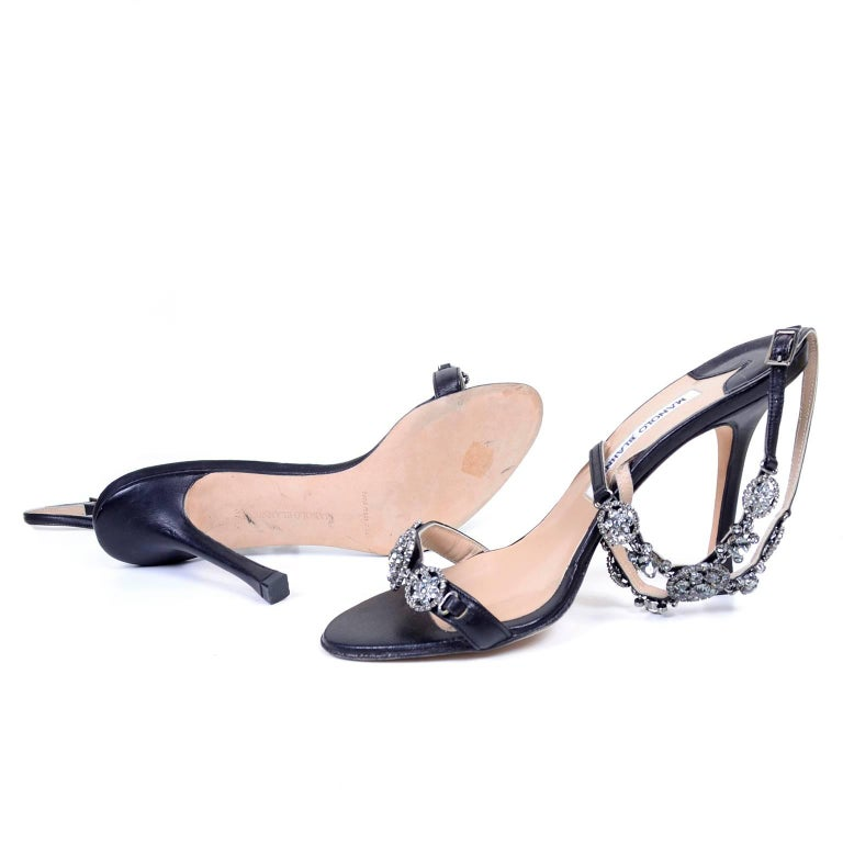 a831c2d45a Rare Manolo Blahnik Shoes Vintage Ankle Strap Heels With Crystals Size 37  For Sale 2